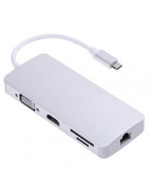 Адаптер (переходник) USB-C to LAN, 2*USB 3.0, USB-C out, VGA, HDMI, cardreaders*2