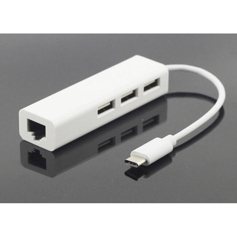 Адаптер (переходник) USB Type-C to Ethernet +USB 2.0 multiple USB Hub