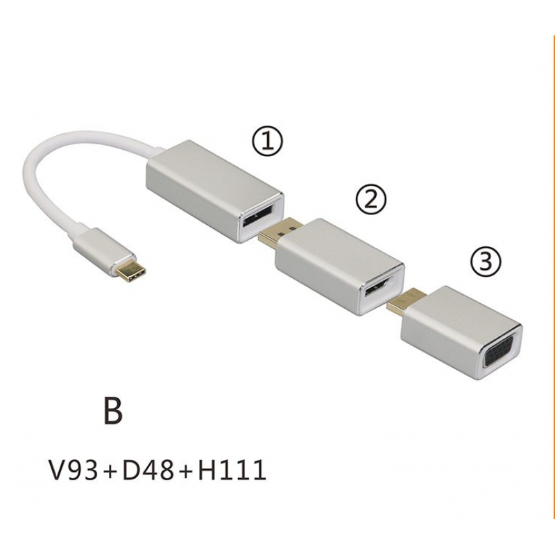 Адаптер (переходник) USB type-C To Displayport to VGA to HDMI cascade Adapter