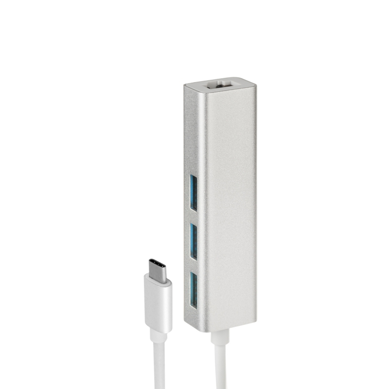 Адаптер (переходник) USB Type-C to Ethernet +USB 3.0 multiple USB Hub