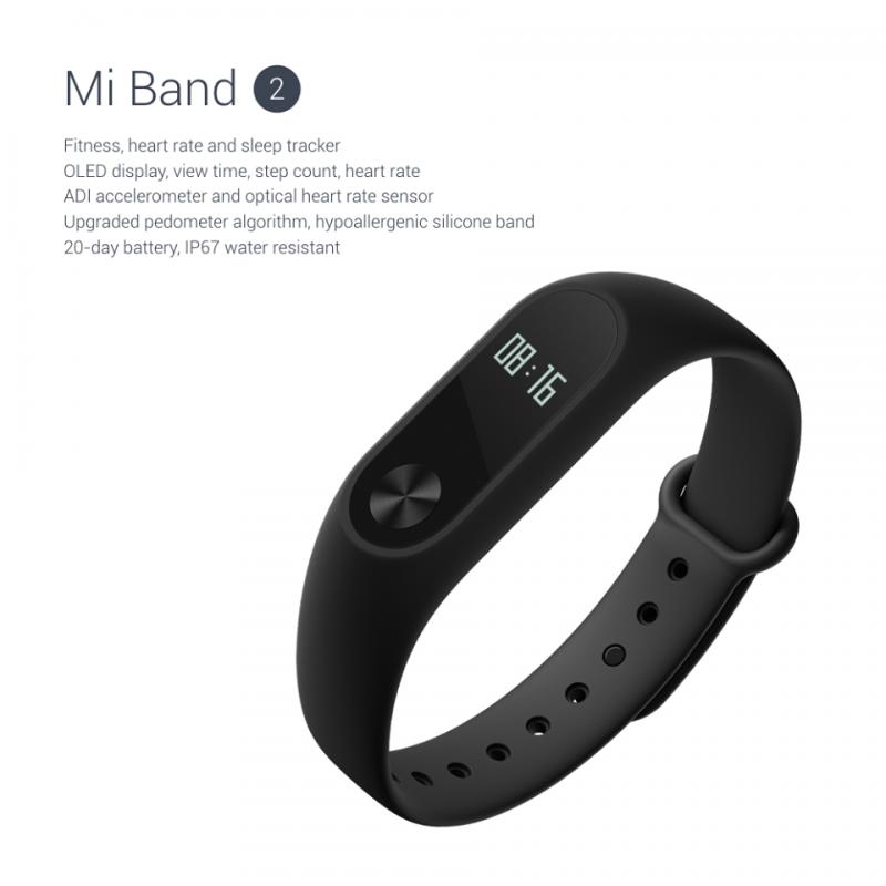 Xiaomi Bracelet MIBand 2, браслет, трекер активности с дисплеем и пульсометром