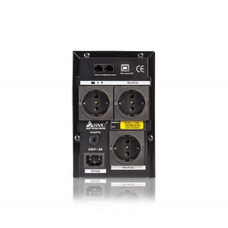UPS SVC V-1000-F, 1000VA, 600ВТ, Smart, USB, AVR стабилизатор