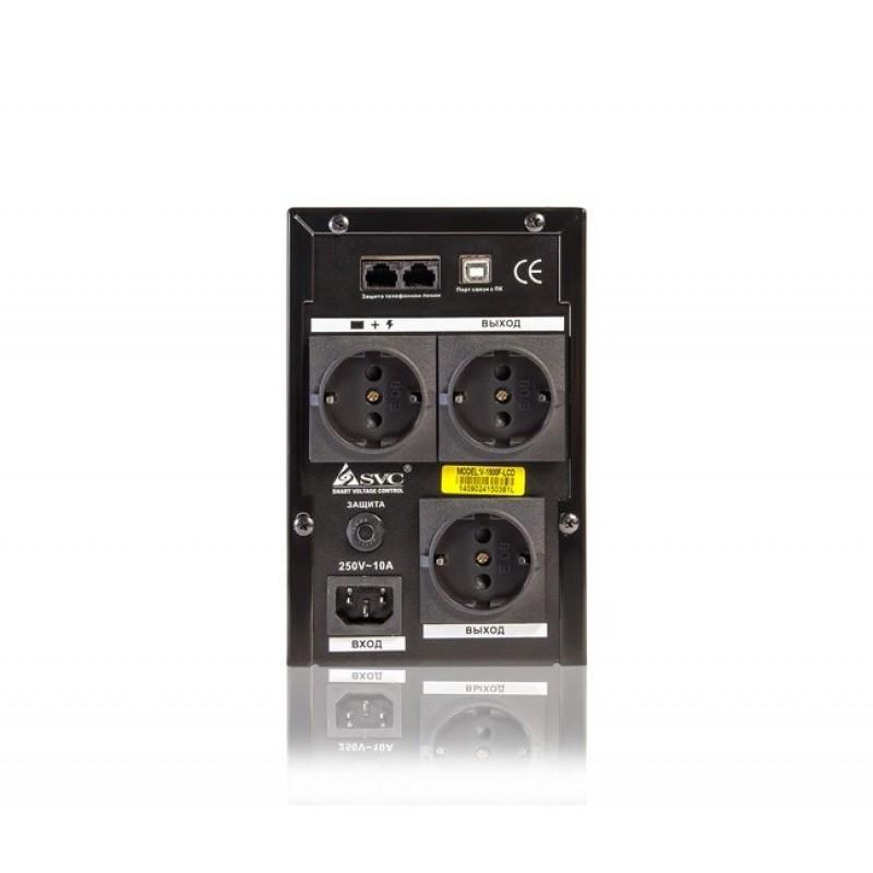 UPS SVC V-1200-F-LCD, Smart, USB, 1200VA, 720Вт, AVR cтабилизатор